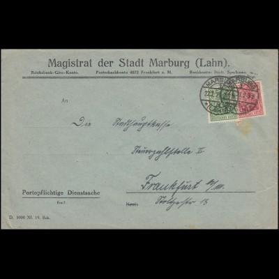 Firmenlochung M in Herzform auf Germania-Marken 20+40 Pf. Brief MARBURG 22.1.21