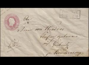 Preußen Umschlag 1 Sgr. rosa COESLIN 7.6. nach Gribnitz