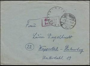 Gebühr-bezahlt-Stempel auf Brief BERLEBURG 5.9.1945 mit aptierten Briefstempel