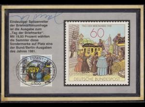 1112 T.d.B. 1981 selbstgestalteter MK SSt Essen Schönste 28.4.82 mit Autogramm