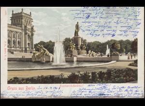 AK Gruss aus Berlin Bismarckdenkmal 17.4.1903 nach Ottbergen DINKLAR 18.4.03