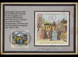 1112 T.d.B. 1981 auf selbstgestalteter MK SSt Essen Messe 28.4.82 mit Autogramm