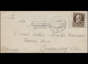 94I Ludwig 3 Pf als EF auf Ducksache MÜNCHEN 29.12.1915 nach Österreich