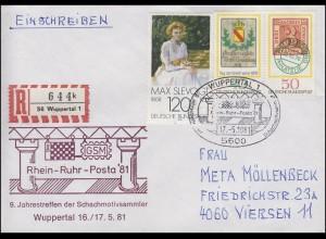 Schmuck-R-Brief Rhein-Ruhr-Posta Schachmotivsammler MiF SSt WUPPERTAL 17.5.81