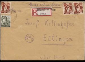 211+215 Freimarken R-Brief Not-R-Zettel BROTDORF über MERZIG 19.3.1947