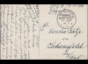 DEUTSCHE MARINE-SCHIFFSPOST No 137 - 14.5.1915 SMS Mecklenburg auf Feldpost-AK