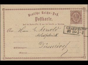 Postkarte P 1 Adler in Ellipse 1/2 Gr. Kasten-O GRAEFRATH / GRÄFRATH 30.11.1874