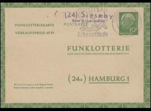 Funklotterie-Postkarte FP 6b Heuss Landpost Sieseby über ECKERNFÖRDE 16.6.60