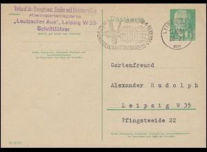 Postkarte P 68a Pieck 10 Pf. Werbe-O LEIPZIG Weltgewerkschaftskongress 13.10.61