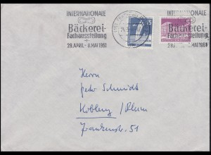141+145 Berliner Stadtbilder 5+15 Pf Bf. Bäckerei-Ausstellung FRANKFURT 24.3.61