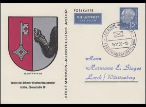 Privatpostkarte PP 9/6 BSV Achim 15 Pf. Heuss Stadtwappen, SSt ACHIM 14.11.59