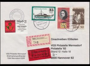 DDR-Brief an die Philatelia'82 nach Hannover MiF Eil-R-Bf WERMSDORF 5.11.1982