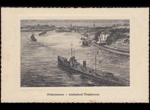 Ansichtskarte Wilhelmshaven: Auslaufende Torpedoboote, VAREL 23.8.1926