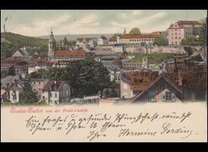 AK Baden-Baden von der Friedrichshöhe, 28.5.1903 nach CRIMMITSCHAU 29.5.03