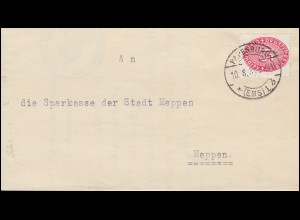Dienst D 124 Ziffer als EF auf Brief Amtsgericht PAPENBURG (EMS) 10.8.1931