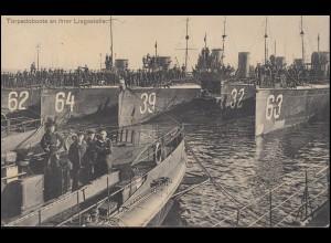Ansichtskarte Torpedoboote an ihrer Liegestelle, KIEL 13.5.1912 nach Deggendorf