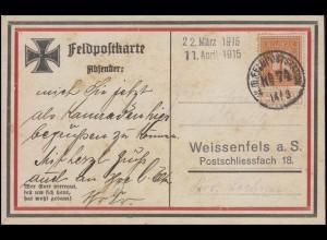 Feldpostkarte mit Belgien 89 Ziffer 1 C. FELDPOSTSTATION Nr. 74 - 14/3 (1915)