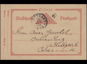 Privat-Stadtpost Postkarte Stuttgart 3 Pf. Dreieck rot: STUTTGART 17.1.89