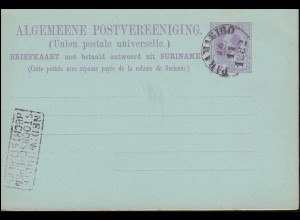 Surinam Doppel-Postkarte / Double Post Card 5/5 Ct. lila, PARAMARIBO 16.11.1882