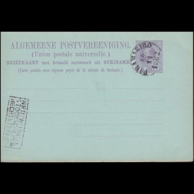 Surinam Doppel-Postkarte / Double Post Card 5/5 Ct. lila, PARAMARIBO 16.11.1882