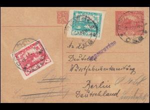 Zensur Tschechoslowakei Postkarte P 16 mit Zusatzfr. PESOV 9.9.20 nach Berlin