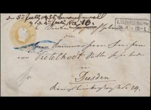 Preußen Umschlag 3 Sgr. gelb, Kastenstempel LANDSBERG A./W. 29.6. nach Dresden