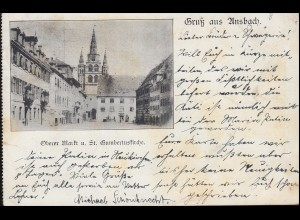 AK Gruss aus Ansbach Oberer Markt und St. Hubertuskirche 25.10.1902 n. NÜRNBERG