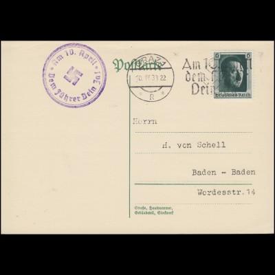 646 Hitler auf Propaganda-Postkarte GRAZ Dem Führer Dein Ja 10.4.38 mit Neben-O