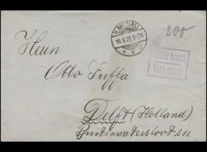 Gebühr-bezahlt-Stempel auf Brief ILMENAU 19.9.23 nach Delft / Holland