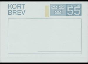 Schweden Kartenbrief Kortbrev K 46 Wertziffer und Kronen 55 Ö. 1969, ungebraucht