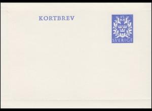Schweden Kartenbrief Kortbrev K 43F Drei Kronen 25 Ö. blau 1967, ungebraucht