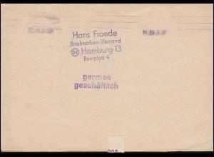 10 AM-Post 3 Pf. als MeF auf Drucksache HAMBURG 16.4.1946 nach Schwabach