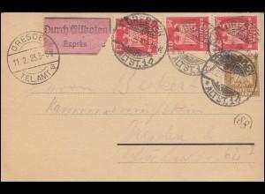 355+358 Reichsadler MiF auf Orts-Express-Postkarte DRESDEN-ALTST. 10.2.1925