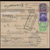 Hindenburg 5+25+40+60 Pf Paketkarte OFFENBURG 28.10.33 über BASEL n. KÜSSNACHT
