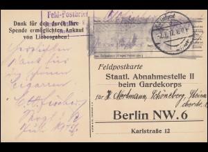 Feldpostkarte / Spendenkarte B.S. Garde-Füsilier-Reg. Feldpost 7.7.17 n. Berlin