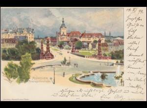Ansichtskarte Prinzregentenstraße MÜNCHEN 14.11.1899 nach BAMBERG 15.11.99