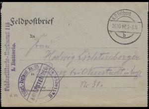 Feldpost-Kartenbrief Feldart.-Regiment 115 / 1. Batterie, K.D. FELDPOST 26.10.17