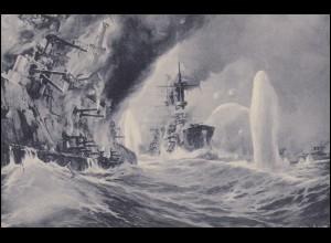 Ansichtskarte Vernichtung russischer Kriegsschiffe, ungebraucht