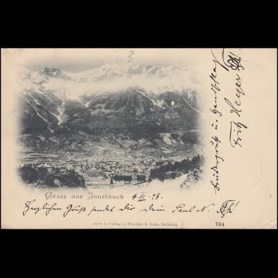 AK Gruss aus Innsbruck Panorama, Rostachteckstempel INNSBRUCK 4.6.98 n. HANNOVER