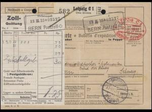 Roter Gebühr-bezahlt-Stempel auf Paketkarte LEIPZIG 10.3.33 nach BERN 14.3.33