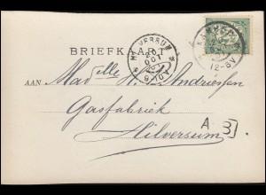 Firmenlochung/Perfin K auf 52 Ziffer auf Foto-AK Dampfer, KAMPEN 20.10.1901
