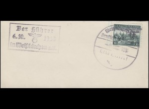 Propagandastempel und SSt. Der Führer am 6.10.1938 in Weiskirchen Blanko-Brief