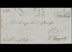 Preußen Vorphilatelie Bf GRAUDENZ 30.4.1867 nach Preuss. Stargard u. zurück 1869