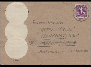 AM-Post 12 Pf EF auf Brief GÖTTINGEN 21.1.46 an das Rote Kreuz in Frankfurt/Main