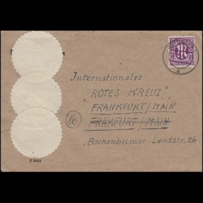 AM-Post 12 Pf EF auf Brief GÖTTINGEN 21.1.46 an das Rote Kreuz in Frankfurt/Main