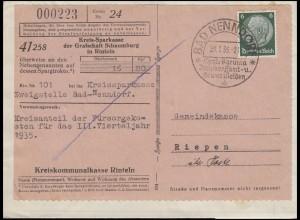 Überweisungsauftrag Kreis-Sparkasse Schaumburg EF 6 Pf. SSt BAD NENNDORF 23.1.36