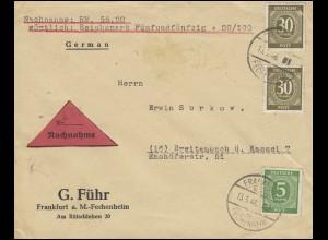 915+928 Ziffer 5 + 2x 30 Pf NN-Bf. FRANKFURT-FECHENHEIM 13.5.46 nach Breitenbach