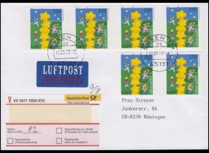 2114 Europa/CEPT 6x 110 Pf / 56 C MeF Wert-FDC ET-O ESSEN 12.5.00 in die Schweiz