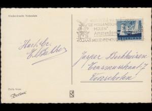 Firmenlochung/Perfin K auf 790 Limburg, AK Klederdracht Volendam AMSTERDAM 1963