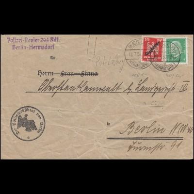 POL-Lochung B 13 auf 411 mit Dienstmarke MiF Orts-Brief BERLIN-HERMSDORF 18.7.30